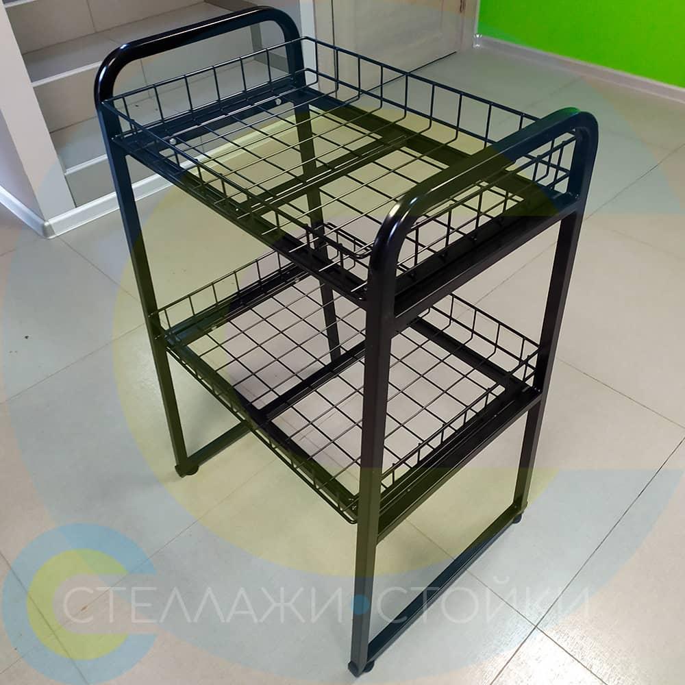 Образцы готового торгового оборудования из стальной сетки