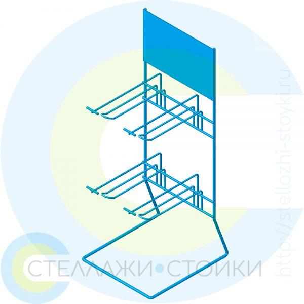 Настольный дисплей с двумя рядами крючков