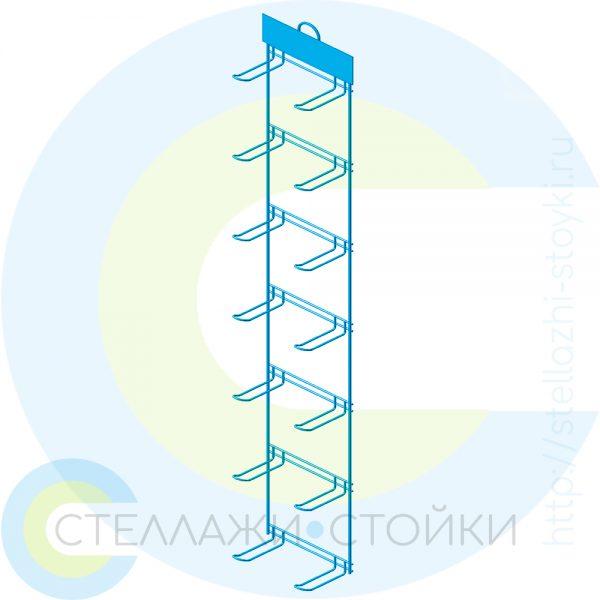 Вертикальная торговая навеска с крючками двухрядная